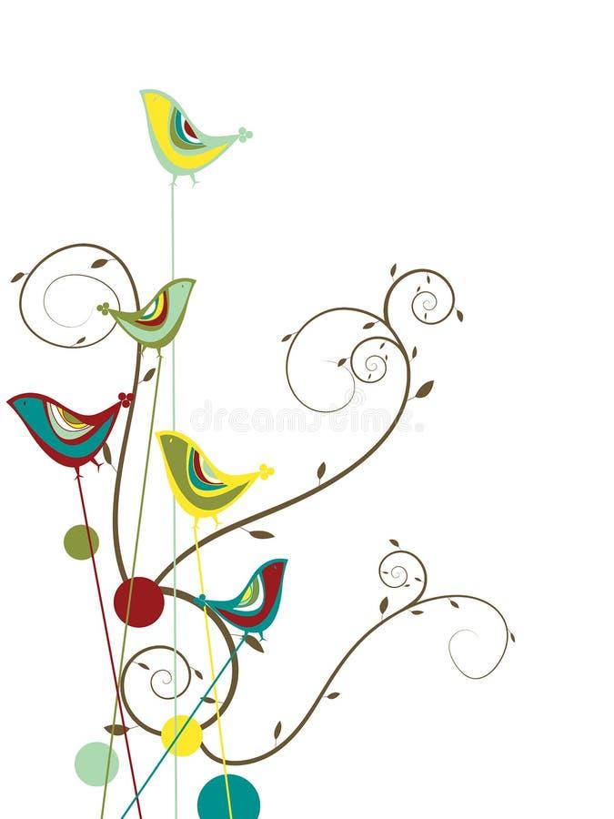 färgrika sommarswirls för fågel royaltyfri illustrationer