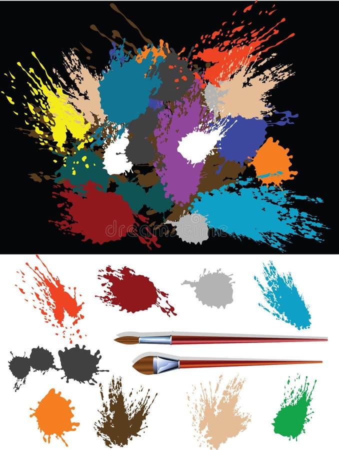 färgrika splats vektor illustrationer