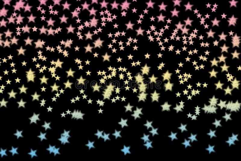 Färgrika stjärnor gjorde n en svart bakgrund royaltyfri foto