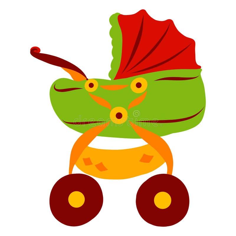 Färgrika stora behandla som ett barn sittvagnen med en vagga stock illustrationer