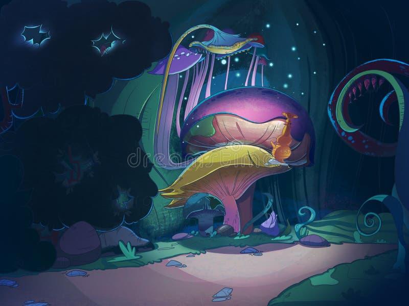 Färgrika stora magichampinjoner royaltyfri illustrationer
