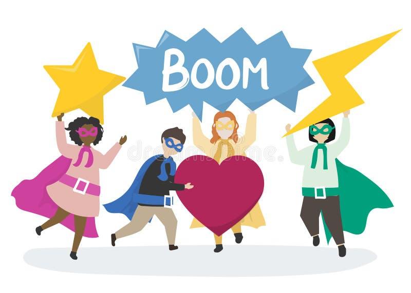 Färgrika superheros till räddningsaktionillustrationen royaltyfri illustrationer