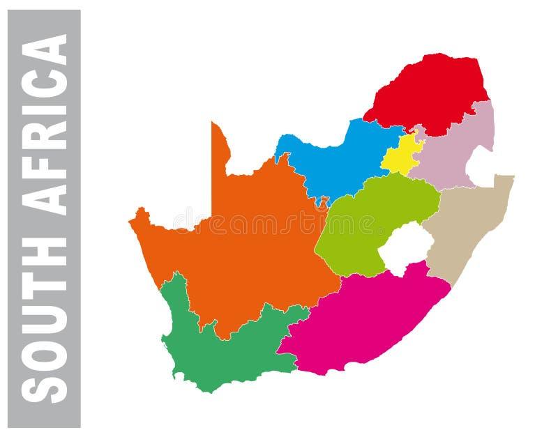Färgrika Sydafrika administrativ och politisk översikt royaltyfri illustrationer