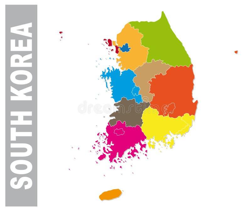 Färgrika Sydkorea administrativ och politisk översikt stock illustrationer