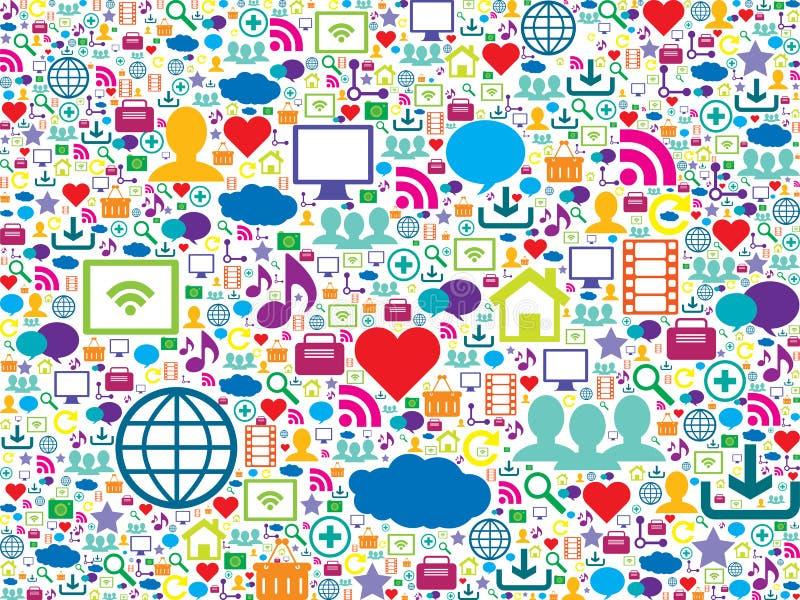 Färgrika symboler av teknologi- och samkvämmassmedia stock illustrationer