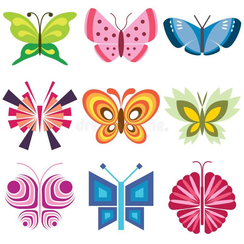 färgrika symboler för fjäril stock illustrationer