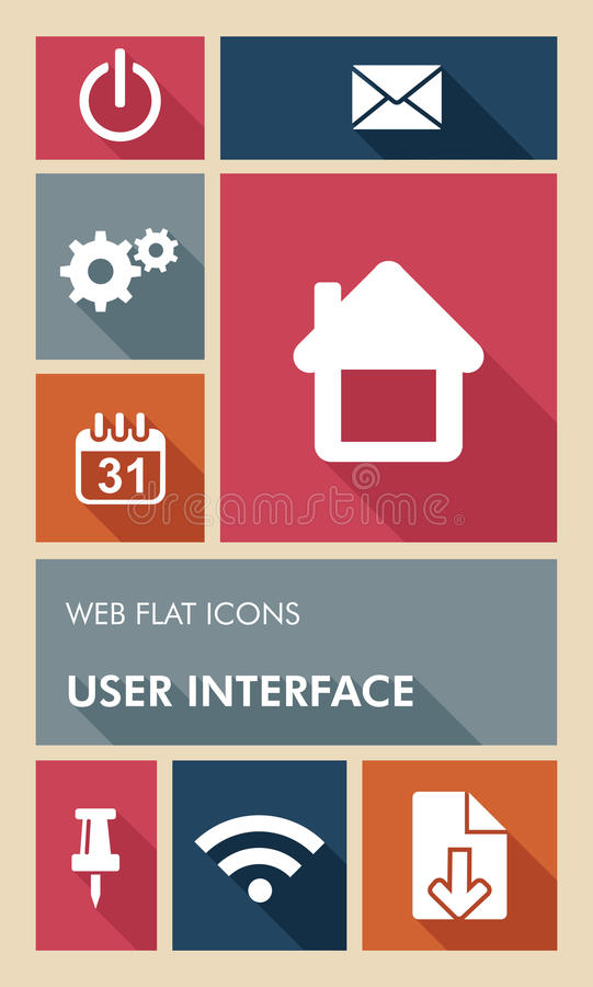 Färgrika symboler för lägenhet för användargränssnitt för UI-rengöringsdukapps. stock illustrationer