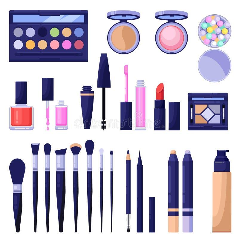 Färgrika symboler för makeupskönhetsmedel och designbeståndsdelar Ögon, framsida, kanter skönhet och omsorgprodukter stock illustrationer