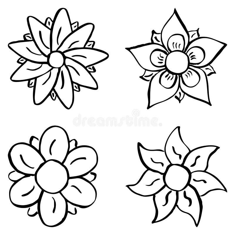 Färgrika tecknad filmblommor royaltyfri illustrationer