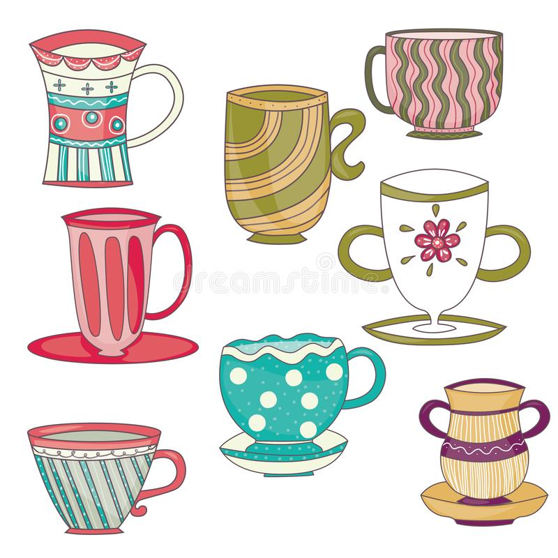 Färgrika tekoppar och kaffekoppar stock illustrationer