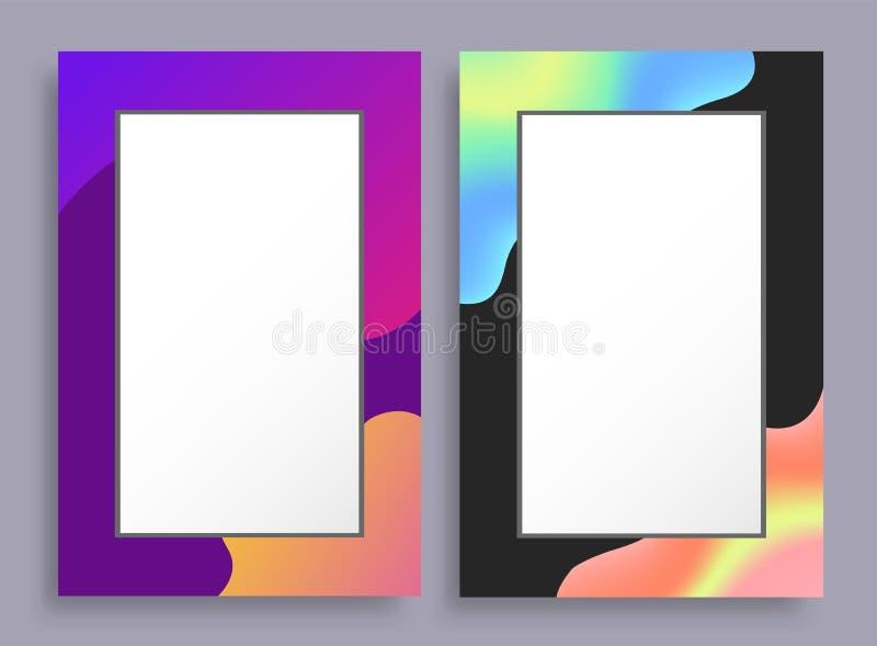 Färgrika tomma lodlinjeramar med ljusa fläckar vektor illustrationer