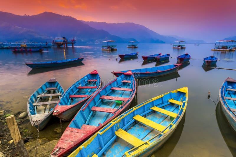 Färgrika träfartyg som parkerar i Phewa sjön och förbluffar solnedgång i bakgrund arkivbild