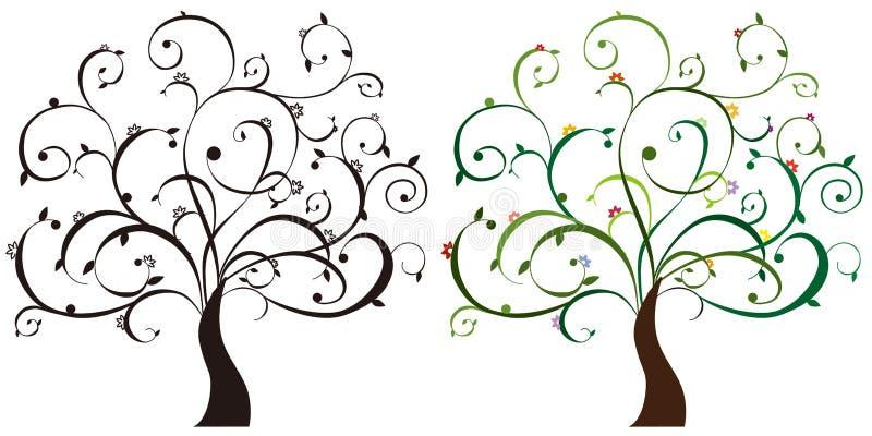 färgrika trees stock illustrationer