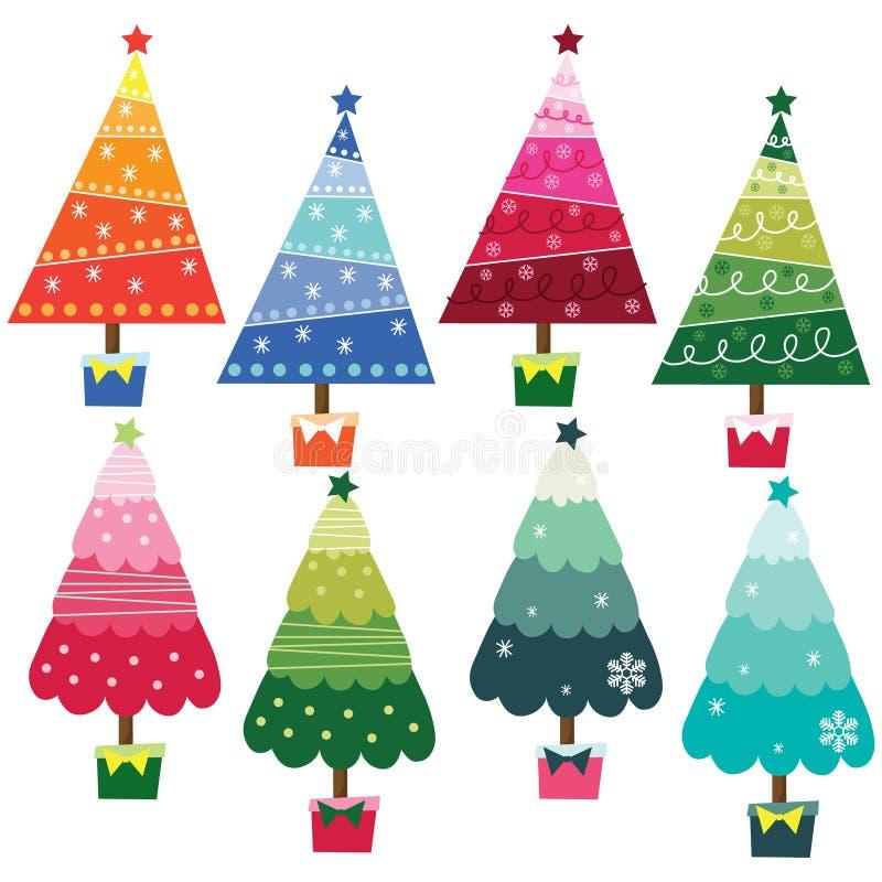 färgrika trees för jul vektor illustrationer