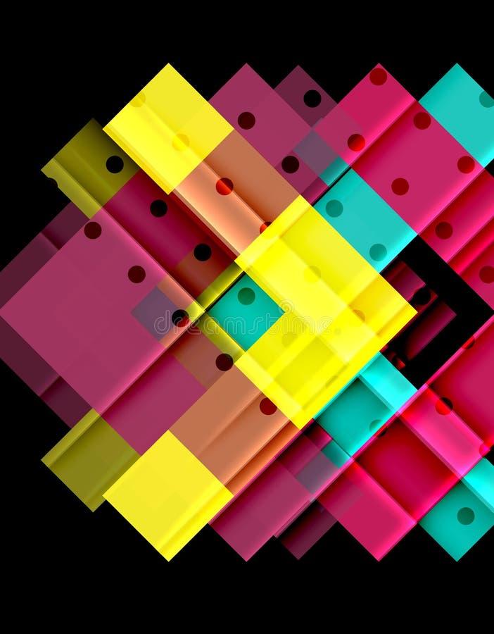 Färgrika trianglar och pilar på mörk bakgrund royaltyfri illustrationer