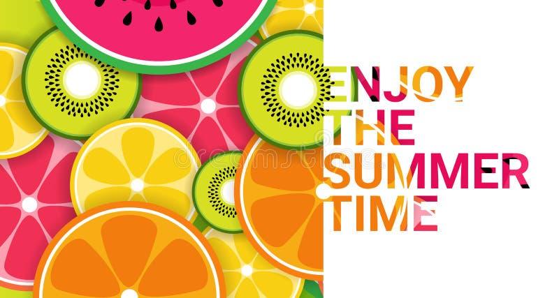Färgrika tropiska frukter tycker om organisk sommar över sund livsstil för rosa bakgrund eller bantar begreppskopieringsutrymme vektor illustrationer