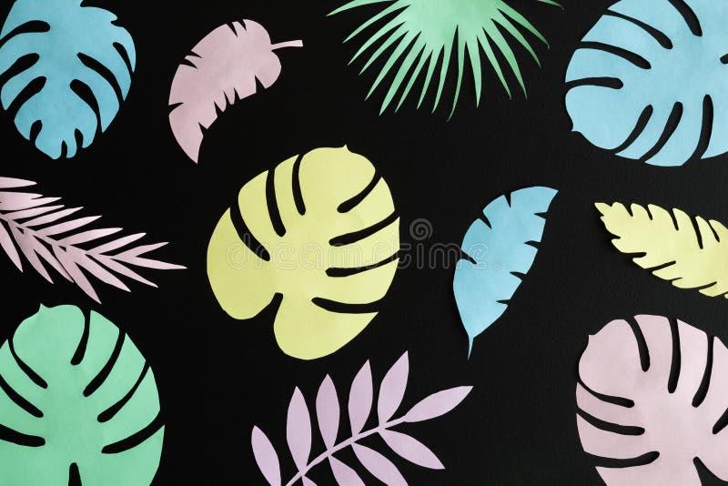 Färgrika tropiska sidor som göras av papper mot minsta idérik modell för mörk bakgrund royaltyfri foto