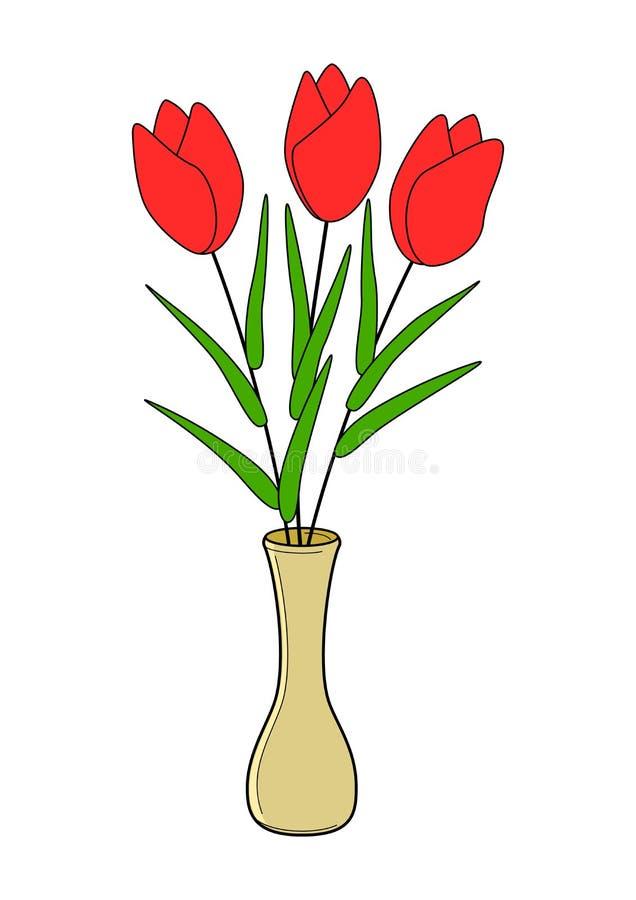 Färgrika tulpan blommar och vasillustrationvektorn royaltyfri illustrationer