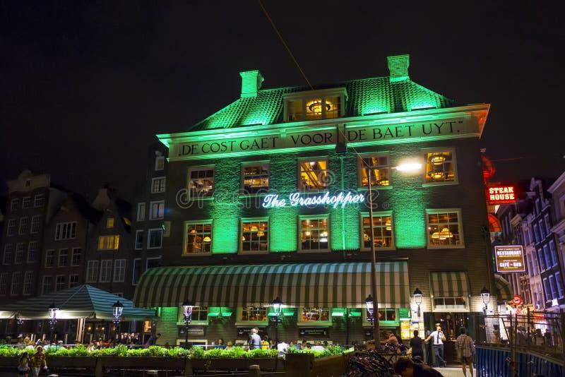 Färgrika upplysta byggnader i centret av Amsterdam - AMSTERDAM - NEDERLÄNDERNA - JULI 20, 2017 royaltyfria bilder