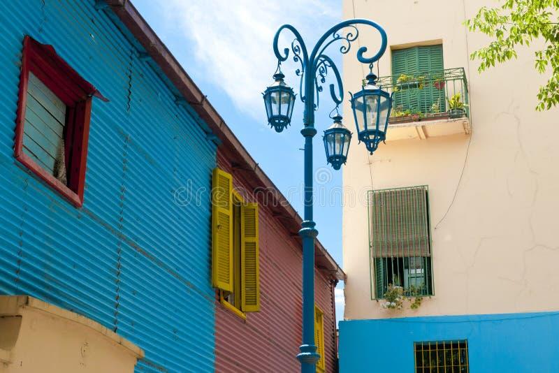 Färgrika väggar i La Boca, Buenos Aires arkivbilder