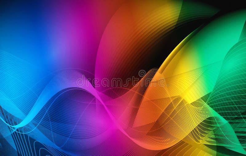 Färgrika vågor - modern abstrakt vektordesign vektor illustrationer