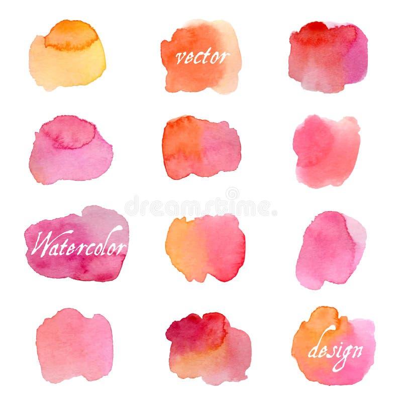 Färgrika vattenfärgfärgstänk som isoleras på vit bakgrund royaltyfri illustrationer