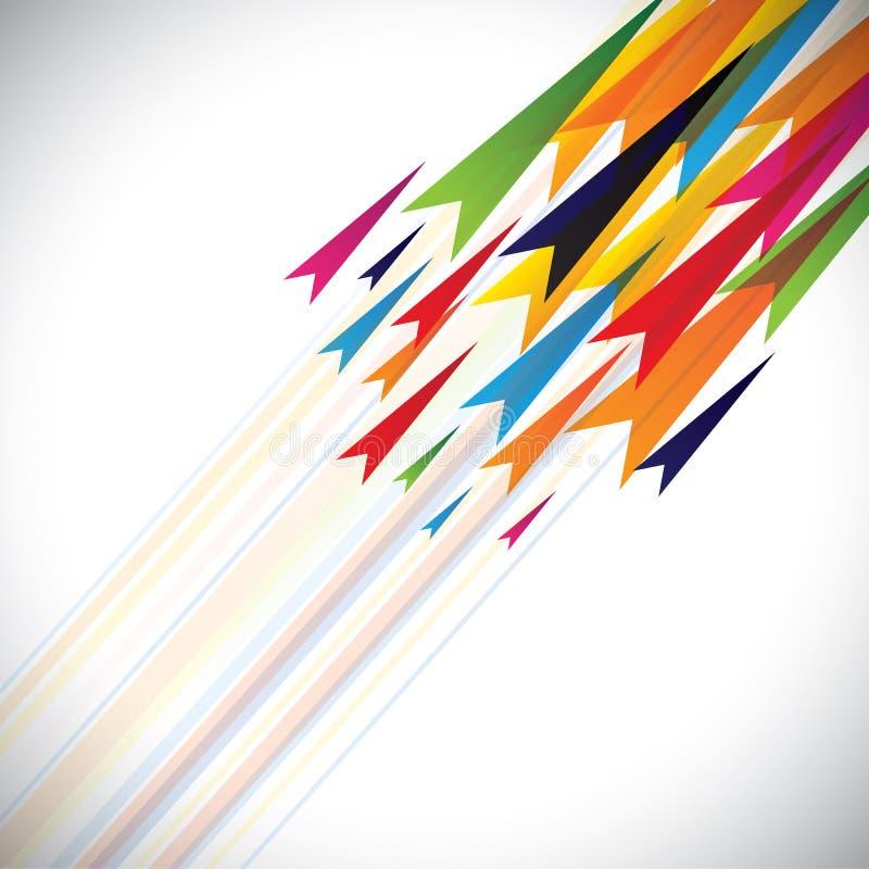 Färgrika vektorpilar och linjer gör sammandrag backgrou stock illustrationer