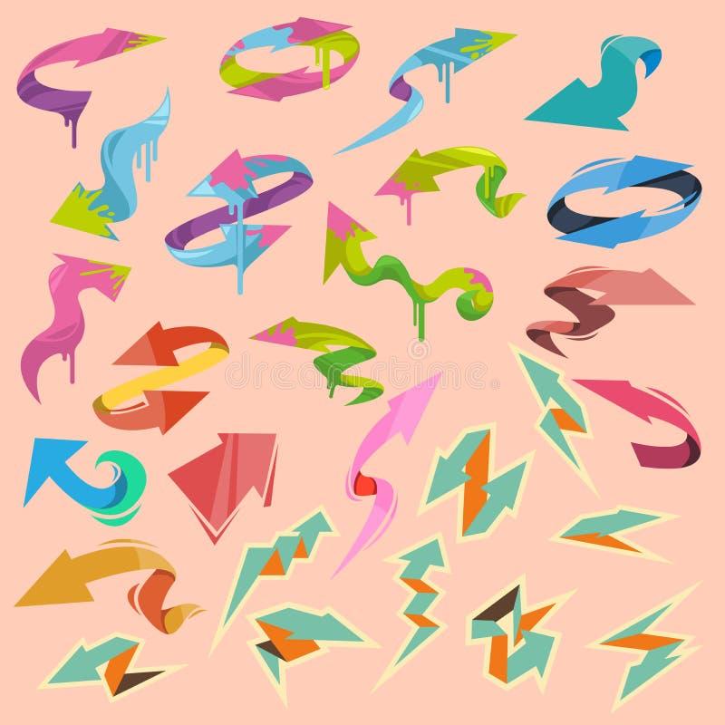 Färgrika vektorpilbeståndsdelar royaltyfri illustrationer