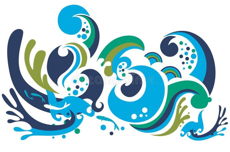 färgrika waves vektor illustrationer
