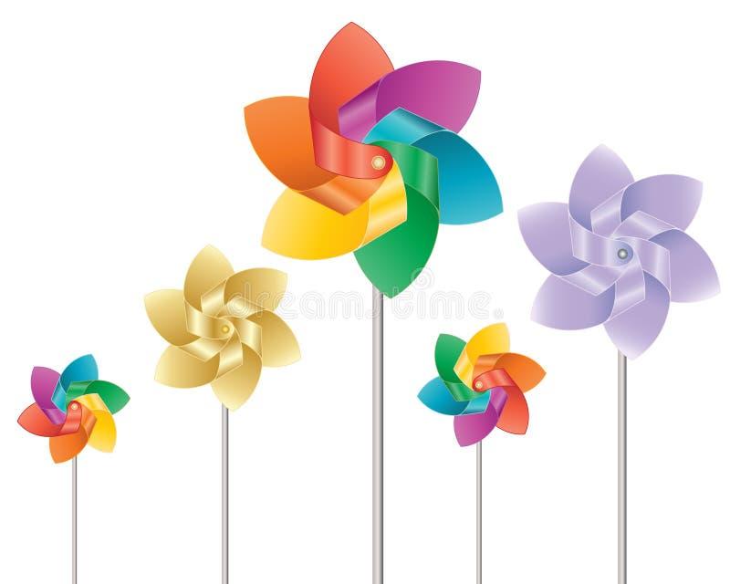 färgrika windmills royaltyfri illustrationer