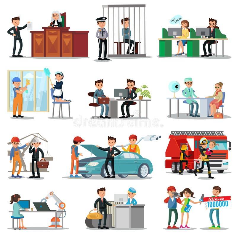 Färgrika yrken och ockupationsamling stock illustrationer