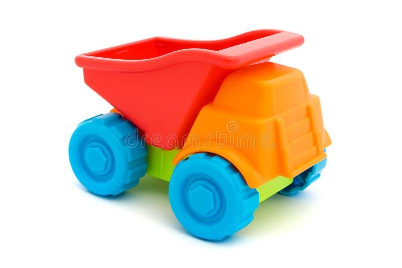 färgrikt över toylastbilwhite arkivbilder