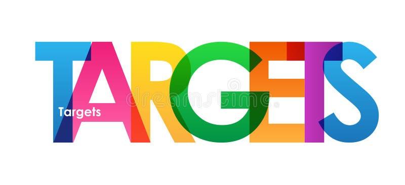 Färgrikt överlappande bokstavsbaner för MÅL stock illustrationer