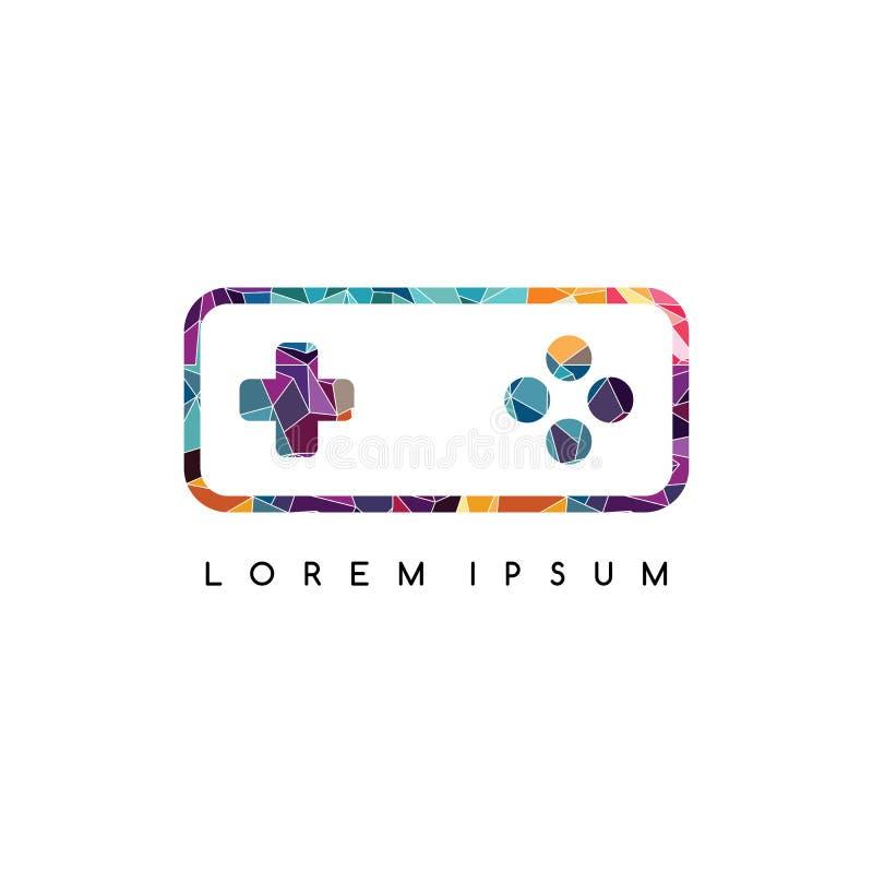 färgrikt abstrakt begrepp för logo för videospelkonsollogotyp stock illustrationer
