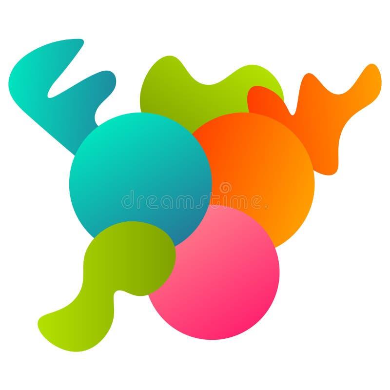Färgrikt abstrakt geometriskt kort med geometrisk sammansättning - cirklar, ojämna former som isoleras på vit bakgrund stock illustrationer