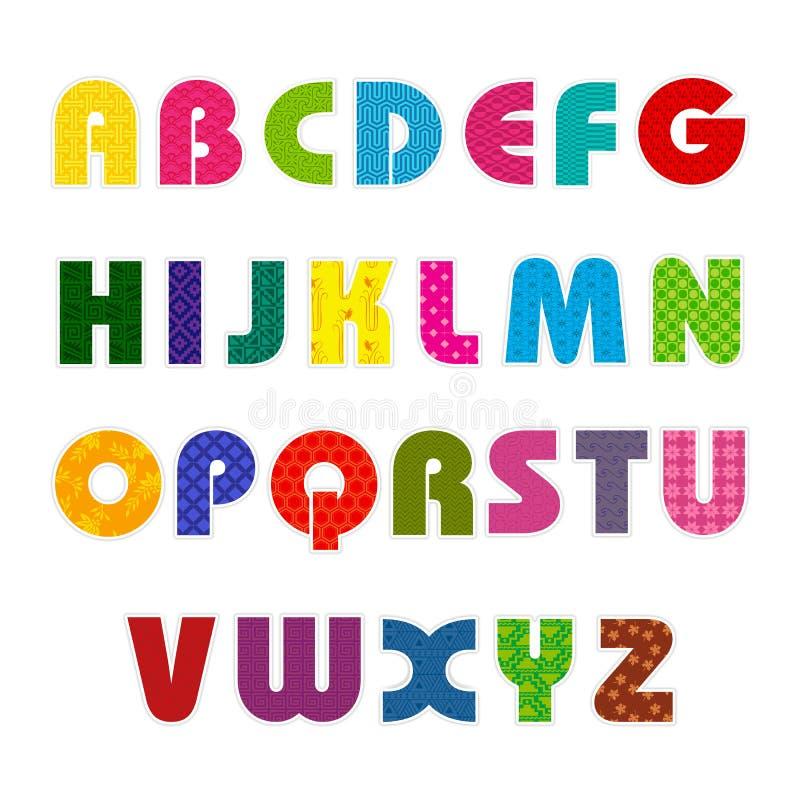 färgrikt alfabet vektor illustrationer