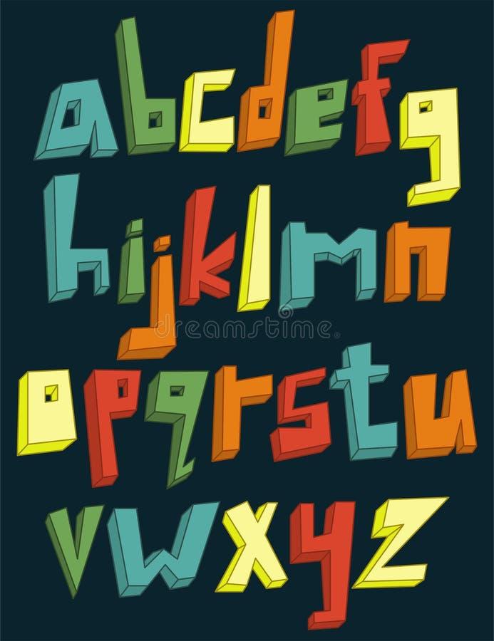 Färgrikt alfabet för lowercase 3d royaltyfri illustrationer