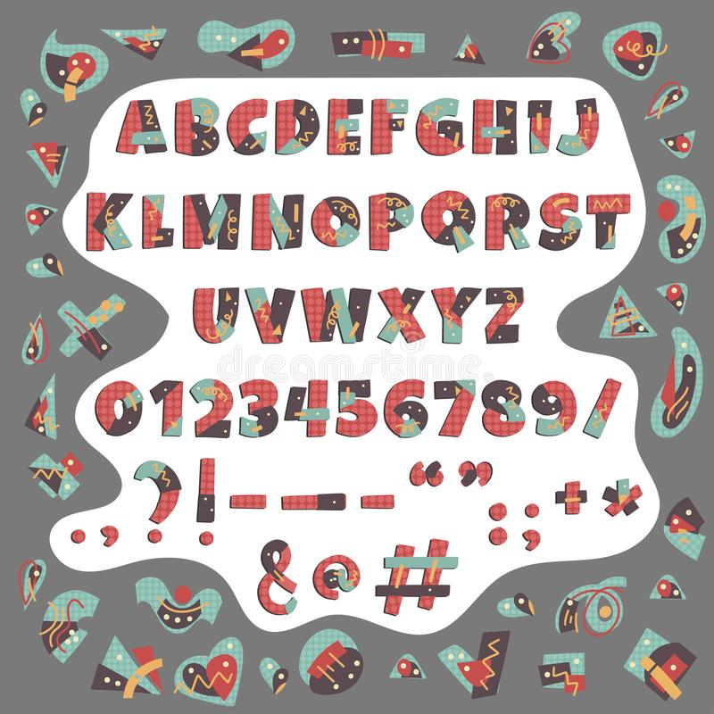 Färgrikt alfabet för Papercut vektor Gulliga geometriska bokstäver royaltyfri illustrationer