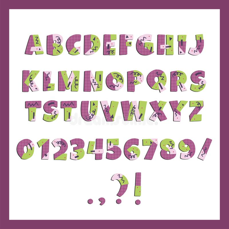 Färgrikt alfabet för Papercut vektor Gulliga geometriska bokstäver vektor illustrationer