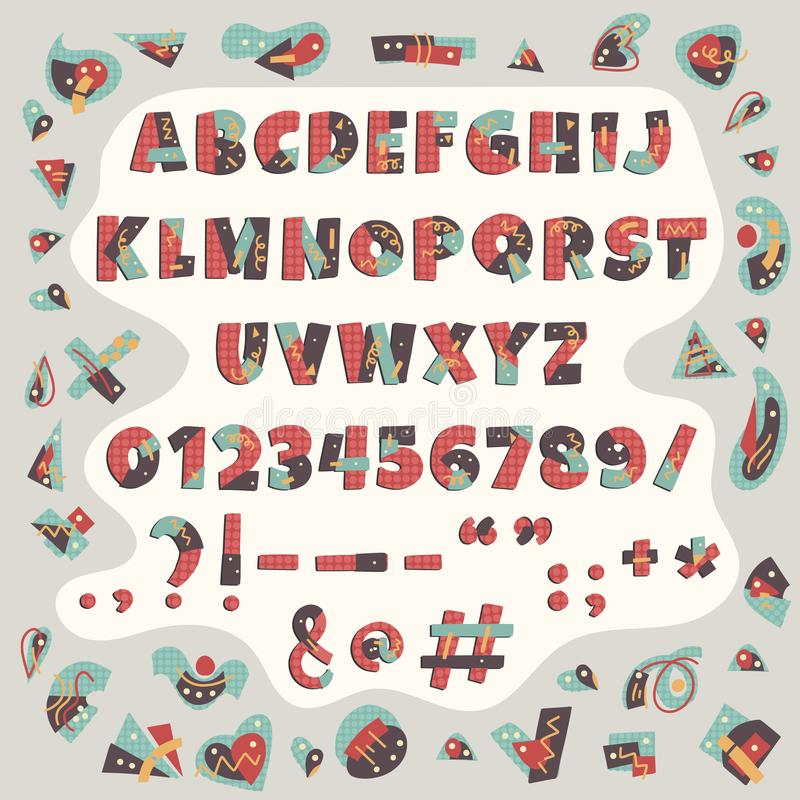 Färgrikt alfabet för Papercut vektor Gulliga geometriska bokstäver stock illustrationer