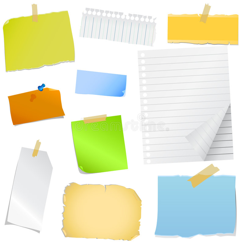 färgrikt anmärkningspapper stock illustrationer