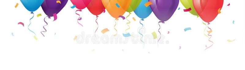 Färgrikt ballongbaner med konfettier överst av en vit bakgrund royaltyfri illustrationer