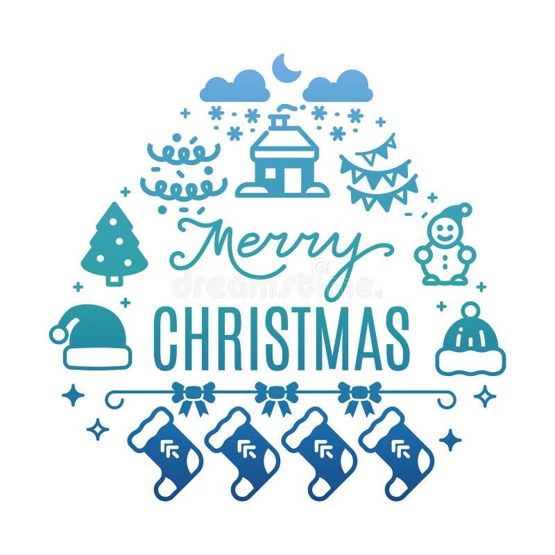 Färgrikt baner för glad jul med den festliga symbolskonturn vektor illustrationer