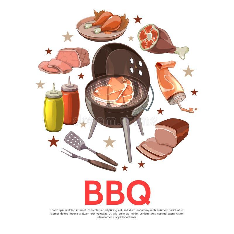 Färgrikt begrepp för grillfestpartirunda royaltyfri illustrationer