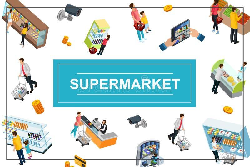 Färgrikt begrepp för isometrisk supermarket stock illustrationer