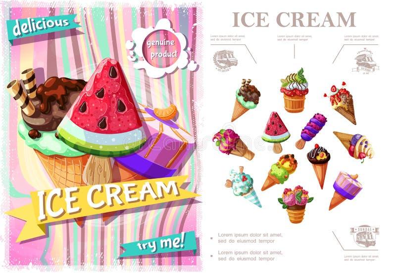 Färgrikt begrepp för ny glass royaltyfri illustrationer