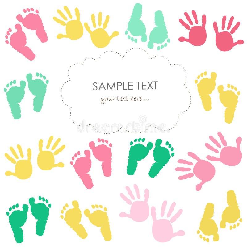Färgrikt behandla som ett barn fotspåret, och händer lurar hälsningkortet stock illustrationer