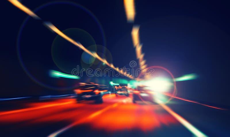 Färgrikt bokehljus från natttrafik, hastighetsfärg arkivbild