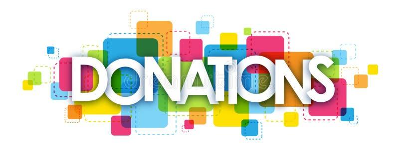Färgrikt bokstavsbaner för DONATIONER vektor illustrationer