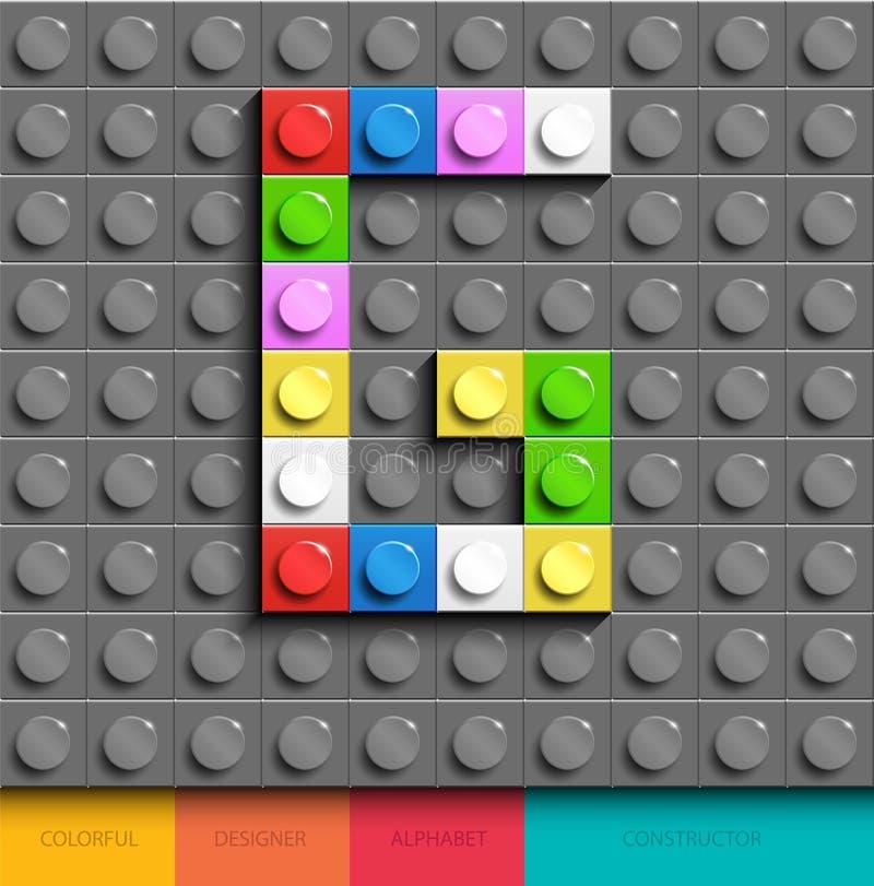 Färgrikt bokstavsG från byggnadslegotegelstenar på grå legobakgrund Lego bokstav M vektor illustrationer